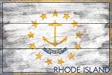 Rhode Island State Flag - Barnwood Painting (9x12 Collectible Art Print, Wall Decor Travel Poster)