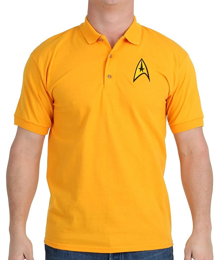 Mighty Fine Star Trek Starfleet Command Uniform Polo Shirt Blue Star