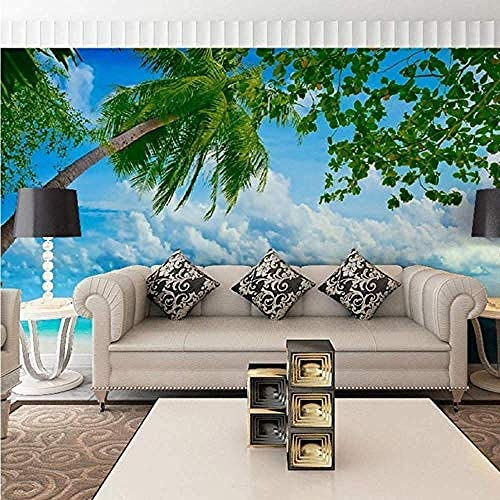 熱帯ビーチ壁紙壁画ヤシの木写真壁紙3Dリビングルーム寝室自己接着ビニール/シルク壁紙-200X140Cm