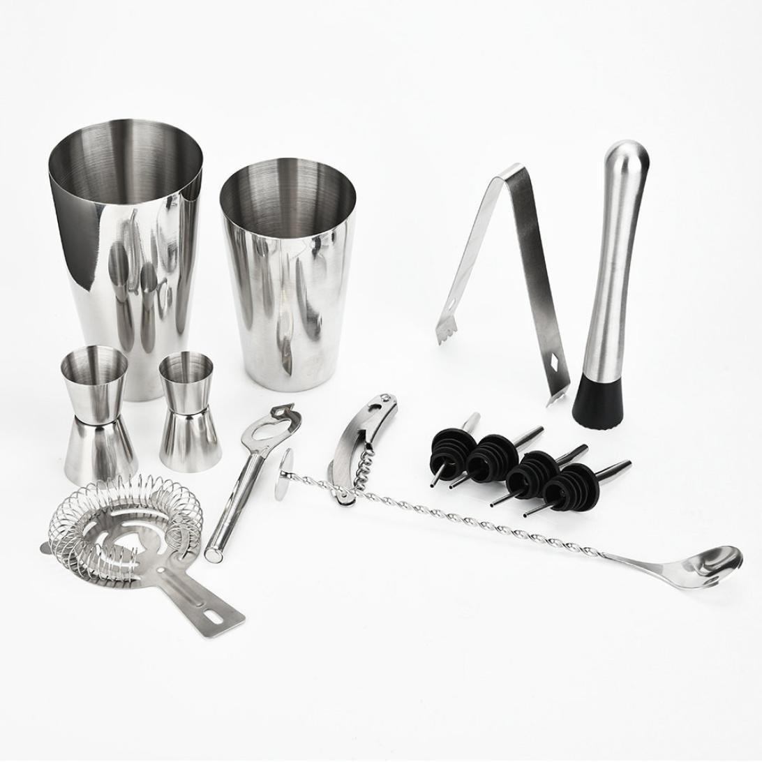 Sacow Cocktail Shaker Bar Set, Stainless Steel Maker Mixer Martini Kit Spirits Muddler Strainer Jigger 13Pcs