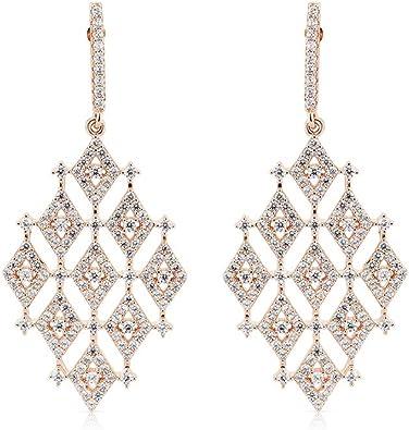 Izaara 925 Sterling Silver with Cubic Zirconia Long Drop//Stud Earrings