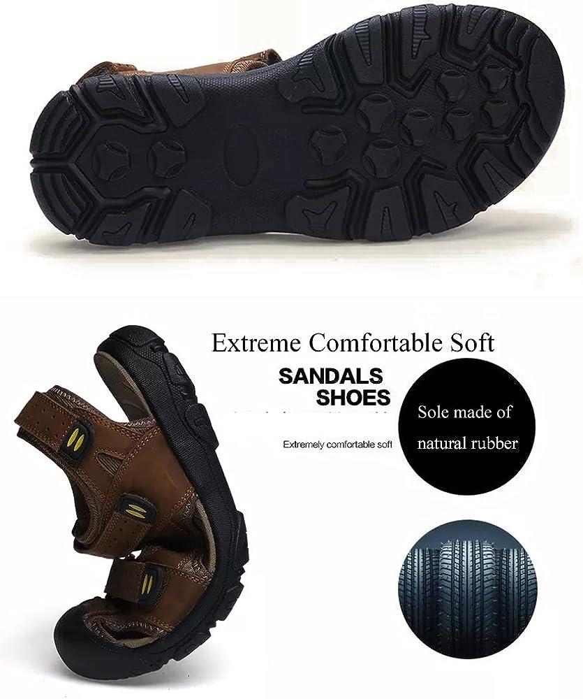Color : Khaki, Size : 6.5 D M US Shoes Mens Mens Flip-Flops Casual Style Cow Leather Sandals Soft Non-Slip Sandbeach Shoes Comfortable
