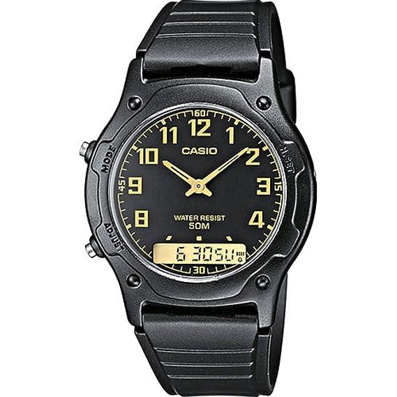 Casio Reloj Analógico-Digital para Hombre de Cuarzo con Correa en Plástico AW-49H-1BVEF: Amazon.es: Relojes