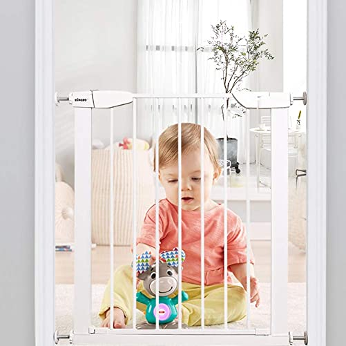 ALLAIBB Walk Through Baby Gate Auto Close Tension White Metal Child Pet Safety Gates with Pressure Mount for Stairs,Doorways and Kitchen 25.59-28.35 in White, 25.59 -28.35