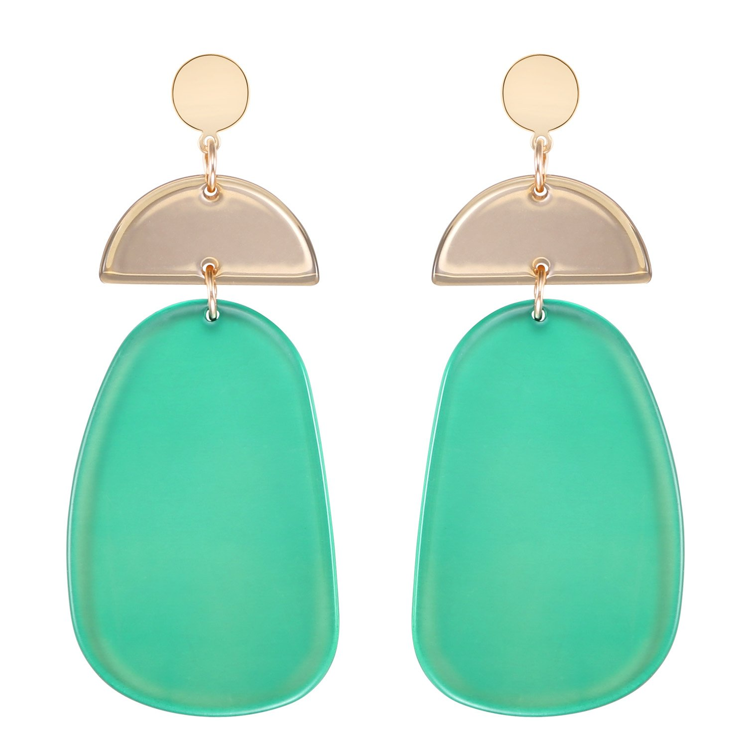 LILIE&WHITE Transparent Geometric Acrylic Hanging Earrings For Women Green