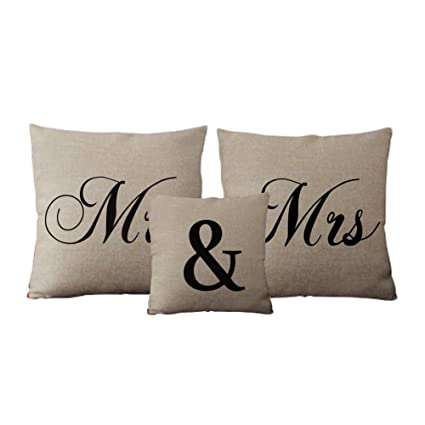 Amazon Com Mr Mrs Pillow Covers Set Linen Valentines Day Pillow