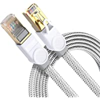 Cat 8 Ethernet Cable DanYee Nylon Braided High Speed LAN Network Cable Fluke Certified 40Gbps 2000Mhz SFTP LAN Wires…