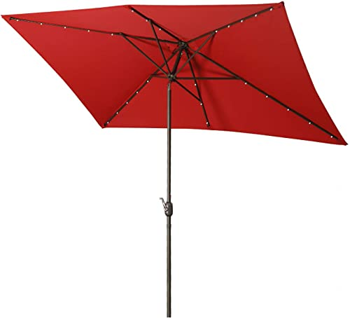 Aok Garden Solar LED Outdoor Umbrella,10×6.5 Feet Rectangular Patio Umbrella with Push Button Tilt and Crank Lift Ventilation,6 Sturdy Ribs Non-Fading Sunshade, Red