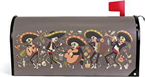 ZZKKO Traditional Mexican Halloween Dia De Los Muertos Funny Skeleton Play Music Mailbox Covers Magnetic Seasonal Colorful Pattern Home Houses Decorations,25.5x20.8 Inch Large Size,Multicolor