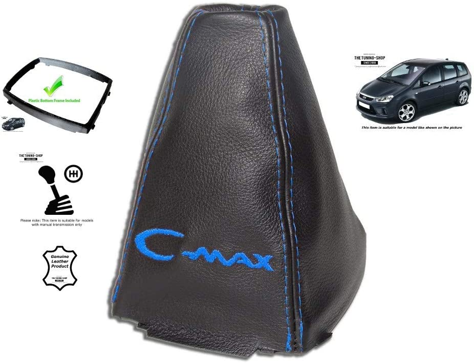 The Tuning Shop Gear Stick Gaiter with Plastic Frame Leather Blue Embroidery