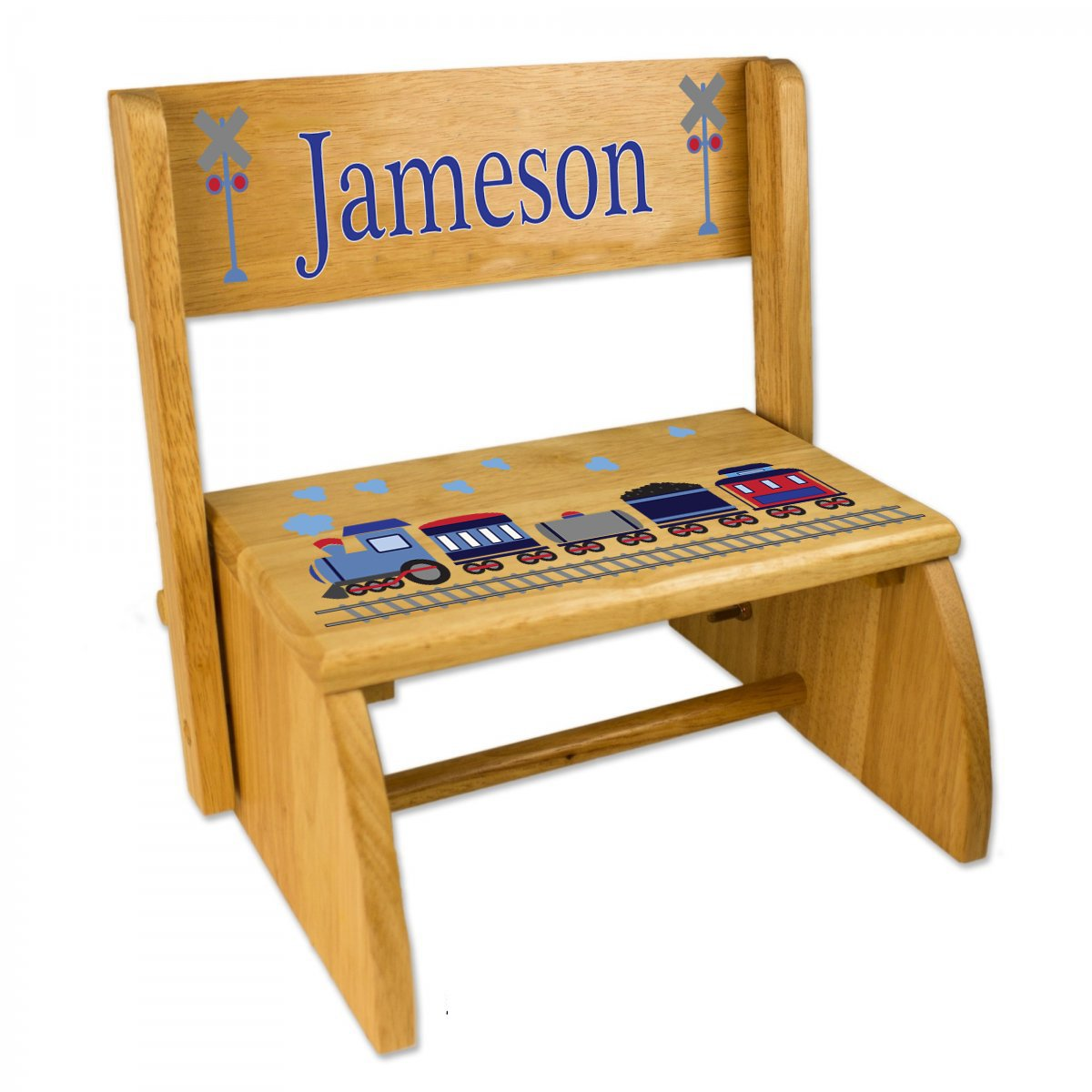 Personalized Train Folding Step Stool by MyBambino