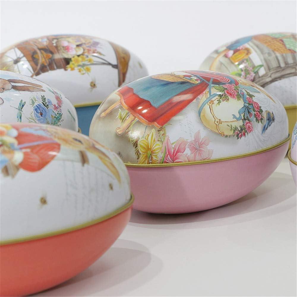 Decorazione di Pasqua a Motivi Uovo Coniglietto Giardino Diversi Colori Decorazione Artigianato Scatola Rotonda di Latta Treer 7 Pezzi Uova di Pasqua L,Scatola di Caramelle