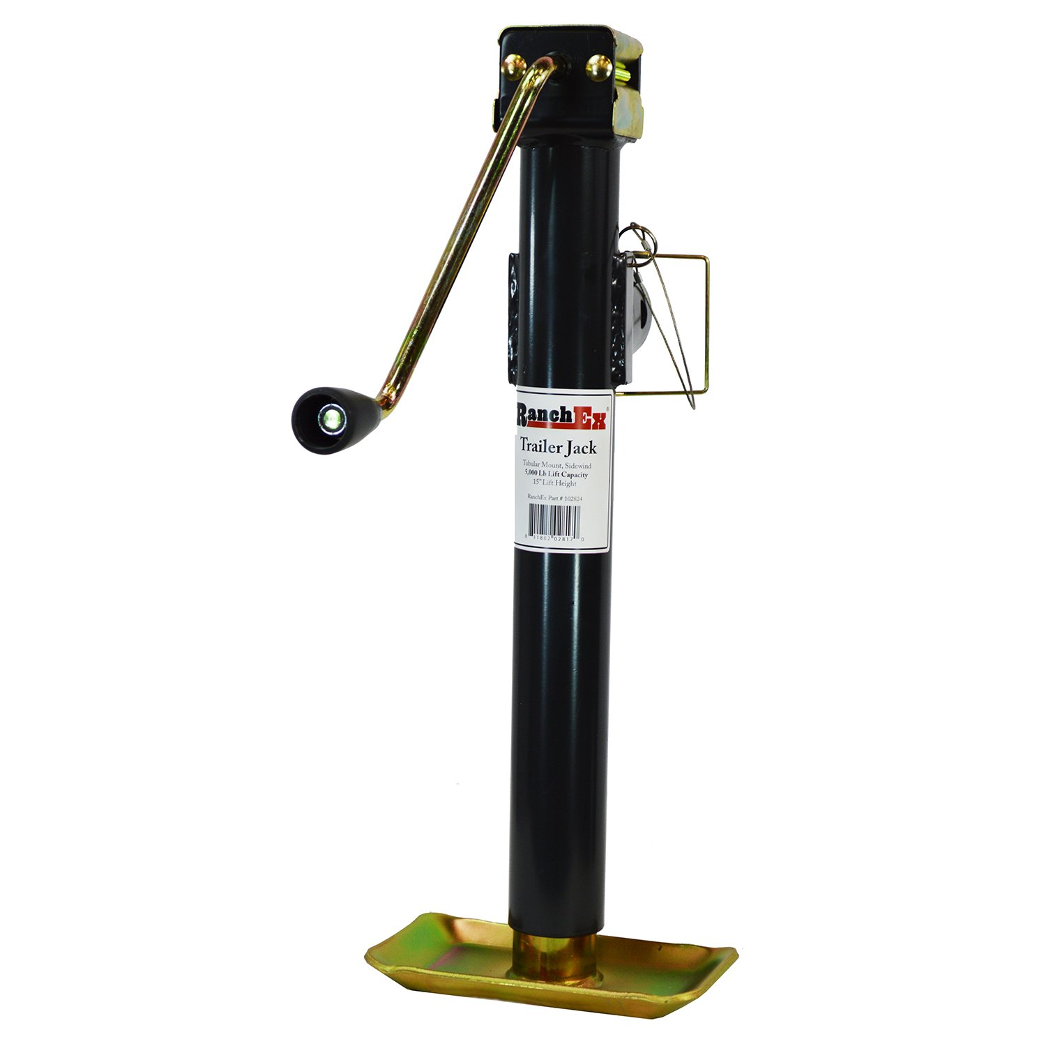 RanchEx 102824 Trailer Jack - Tubular Mount Side Wind 5,000 lb Lift Capacity 15'' Lift Height