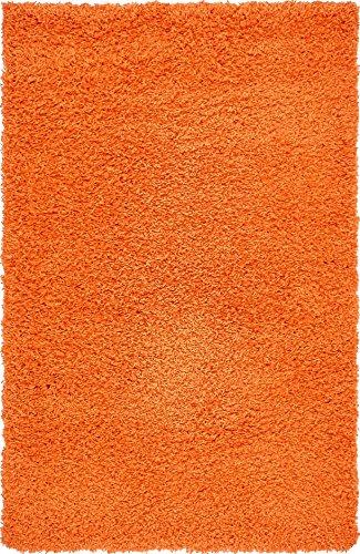 (Unique Loom Solo Solid Shag Collection Modern Plush Orange Area Rug (3' 3 x 5' 3))