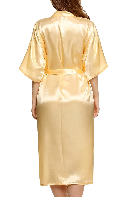 Cooshional Plus Size Long Satin Kimono Robe for Women Wedding Dressing Gown  with Belt  Amazon.co.uk  Clothing 6f3dd1c4f