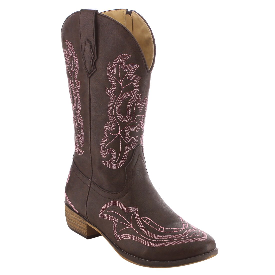 BETANI Ebony Girl's Kids Western Embroidered Mid Calf Cowgirl Block Heel Boots,Brown 05,1