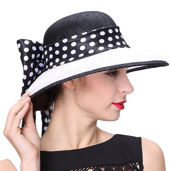 e21689c2c3b June s Young Lady White Black 3 Layers Sinamay Wedding Hats Sun Hat  Saratoga Race Course  Amazon.co.uk  Clothing