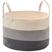 EZOWare Extra Large Cotton Rope Storage Basket, Wide Soft Woven Knit Laundry Hamper with Handles for Bathroom Nursery…