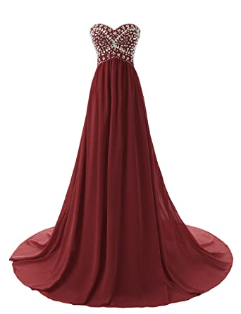 Dressystar Sweetheart Beaded Long Prom Dress Flowing Chiffon Bridesmaid Dress Size 2 Burgundy
