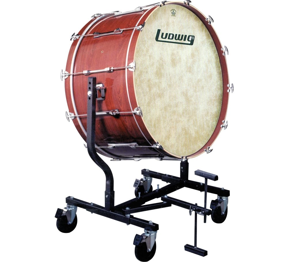 Ludwig Concert Bass Drum w/ Fiberskyn Heads & LE787 Stand Black Cortex 18x36