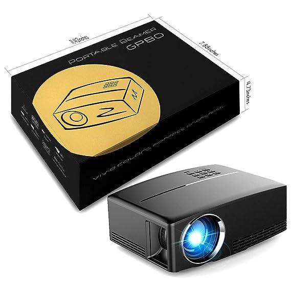 LMtt Proyector casero, GP80 proyectos LED 1800 lúmenes HD Mini ...