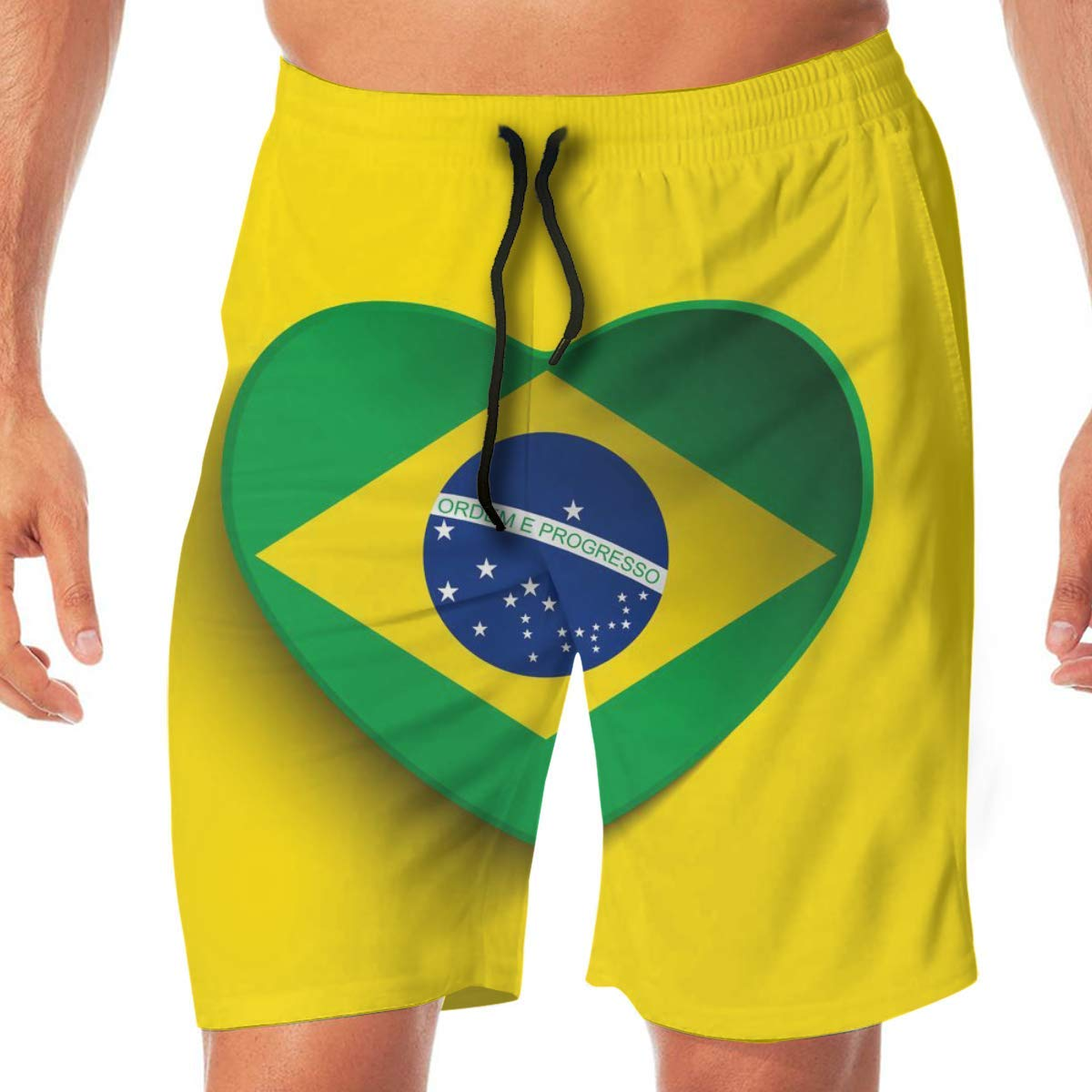 National Flag of Brazil Mens Beach Shorts Showy Board Pants Adults Surf Beach Trunks Home Relaxed Trousers
