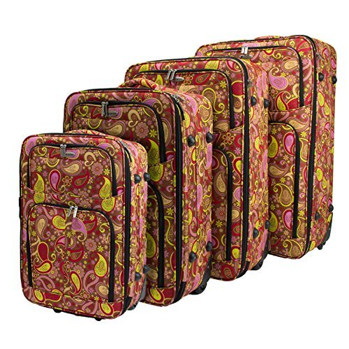 Dumont Paisley 4-Piece Expandable Lightweight Rolling Luggage, ()