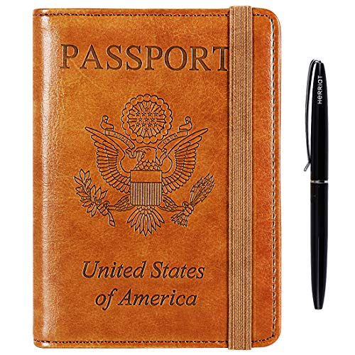 - Passport Holder Cover wallet Case-Leather RFID Blocking Travel Document Organizer with Bonus Pen for women men(Pale Brown )