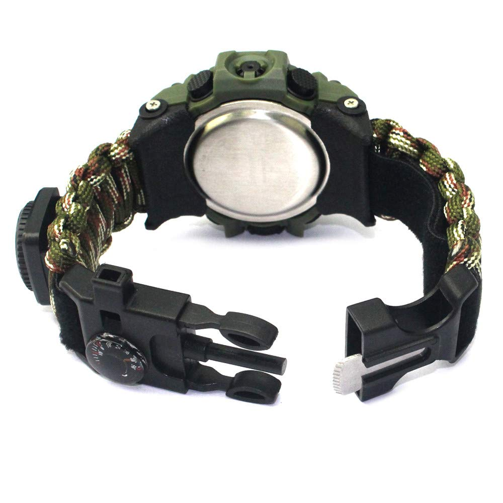 Amazon.com: Outdoor Survival Watch-Vovomay Bracelet with Flint Fire Starter Compass Whistle (F): Cell Phones & Accessories