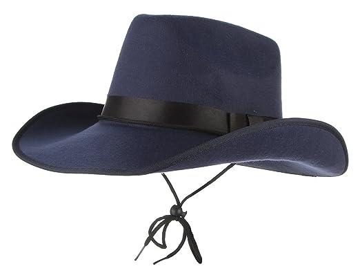 94e9c7b56e85 GEMVIE Chapeau Homme Feutre Melon Triby Fedora Vintage Style Western Tour De  Tête 57cm Bleu Marine