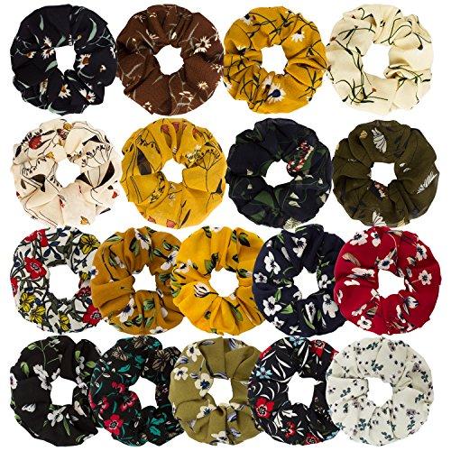 Wecoe 18 Pack Large Chiffon Flower Hair Scrunchies Hair Ties Soft Scrunchies Elastic Hair Accessories Hair Bands Ropes, 18 Colors