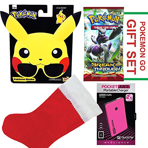 Pokemon Stocking Set, Includes Pikachu Sunglasses, Power Bank, Pack of  New Pokemon Cards, and Red Stocking in Pokemon - Sunglasses Monopoly