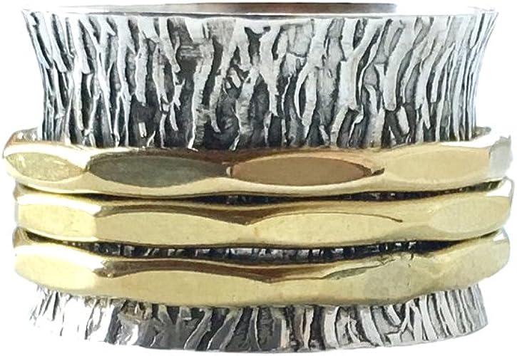 Hecho a mano plata esterlina sólida ancho martillado corteza Brazalete con 925