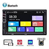 Bluetooth 2 Din Car Radio AMprime 7-inch Capacitive Touch Screen Mirror Link for iOS/Android Phone FM Receiver MP5 Car Player USB SD AUX-in + Rear View Camera