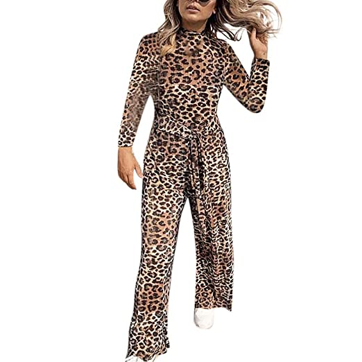 2e1a88cd6084 KFSO Women Long Sleeve Leopard Print Jumpsuits Loose Playsuit Long Wide Leg  Trousers with Belt (