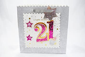 Age 21st Gift Bag Large Wrap Quality Giftbag Present Bags Birthday Female
