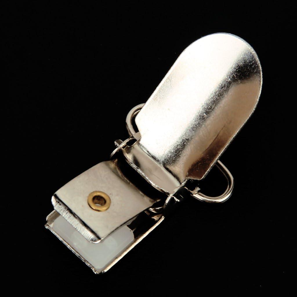 10Pieces 1.5Inch Iron Suspender Paci Pacifier Holder Mitten Clips Silver