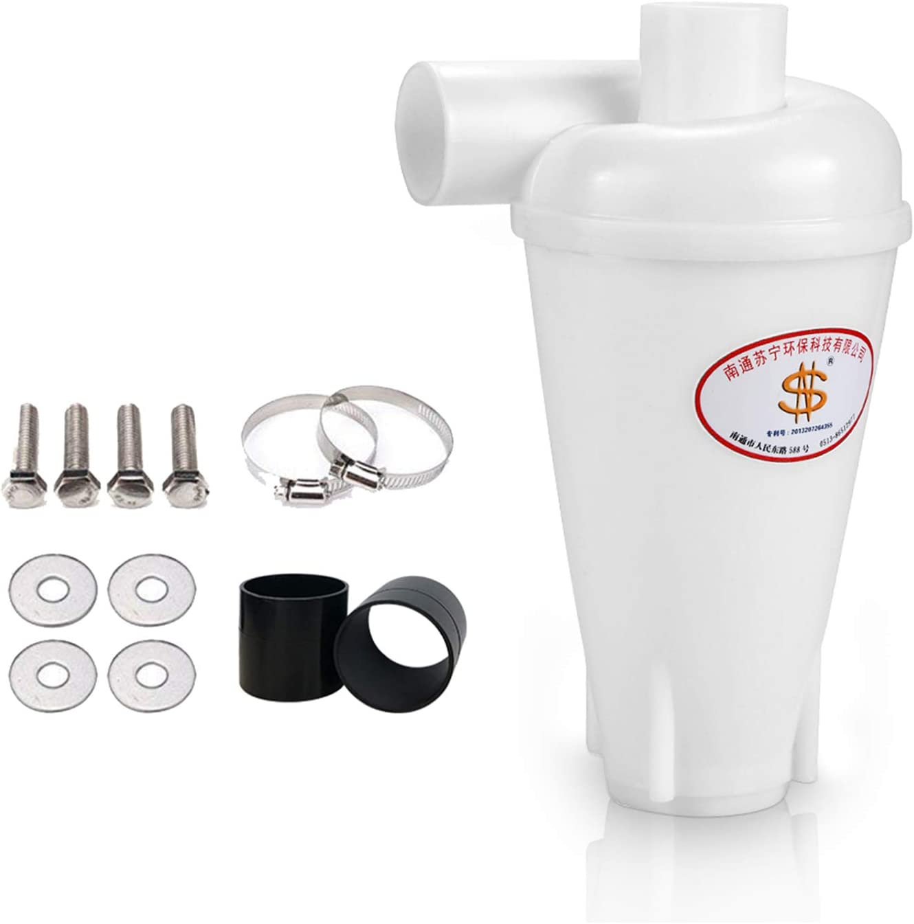 Sailnovo Colector de polvo Extractor de polvo Separador Ciclónico Filtro Ciclón Recolección de Polvo para Aspirador (Blanco con accesorios)