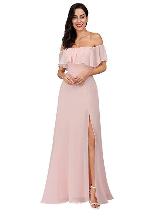 70s Prom, Formal, Evening, Party Dresses Ever-Pretty Womens Off The Shoulder Ruffle Party Dresses Side Split Beach Maxi Dress 07679 $46.99 AT vintagedancer.com