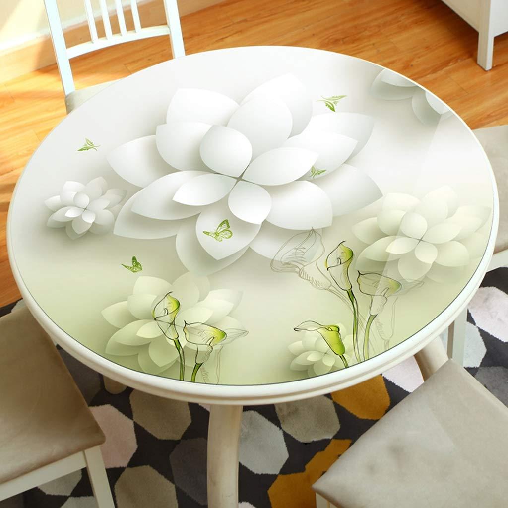 B 90cm LLH Nappe souple en PVC, nappe en plastique souple épaisse et résistante à l'huile et nappe de table ronde 3D ZHUOB (Couleur   A, taille   100cm)