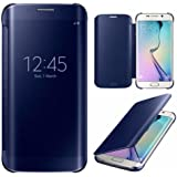 Sparkling Trends Clear View Mirror Flip Smart Cover Case for Samsung Galaxy S6 Edge BLUE