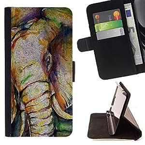 King Art - Premium-PU-Leder-Prima caja de la PU billetera de cuero con ranuras para tarjetas, efectivo Compartimiento desmontable y correa para la mu?eca FOR Samsung GALAXY G850 SM-G850F G850Y G850M- Elephant Cute Aztec