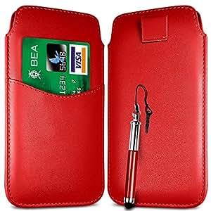 Online-Gadgets UK - Ranura Motorola Moto E Premium Card PU cuero Flip Case Tire Tab Bag & retráctil Stylus Pen - Rojo