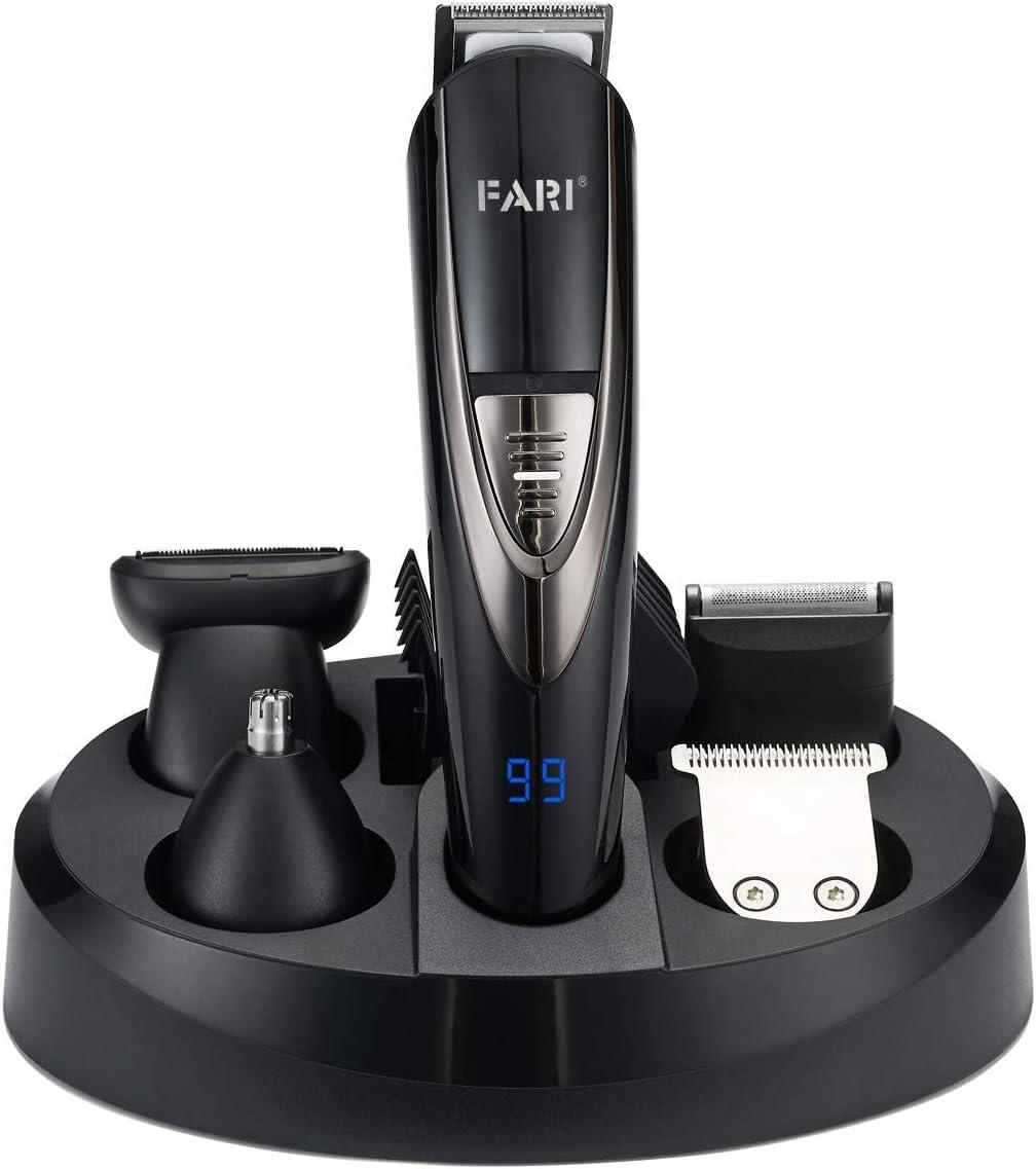 Juego de recortador de barba eléctrico multifuncional FARI, kit de aseo lavable para hombres, cortapelos inalámbrico profesional para hombres y traje de afeitadora de bigote con nariz recortada, negro