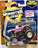 Toys : Hot wheels Monster Jam 2017 release #3/10 Team Flag Madusa silver/chrome and pink 1:64 scale monster truck die-cast