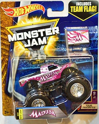 Hot wheels Monster Jam 2017 release #3/10 Team Flag Madusa silver/chrome and pink 1:64 scale monster truck (Diecast Monster Truck)