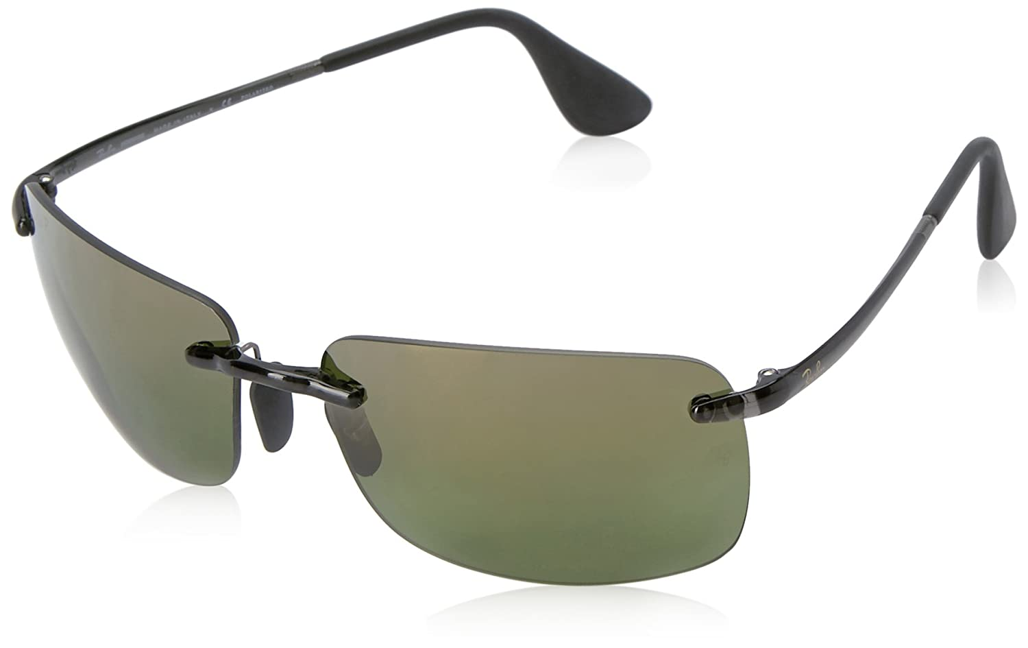 13330a25c81 Ray-Ban Rectangle Rimless Sunglasses in Grey Green Polarised Mirror ...