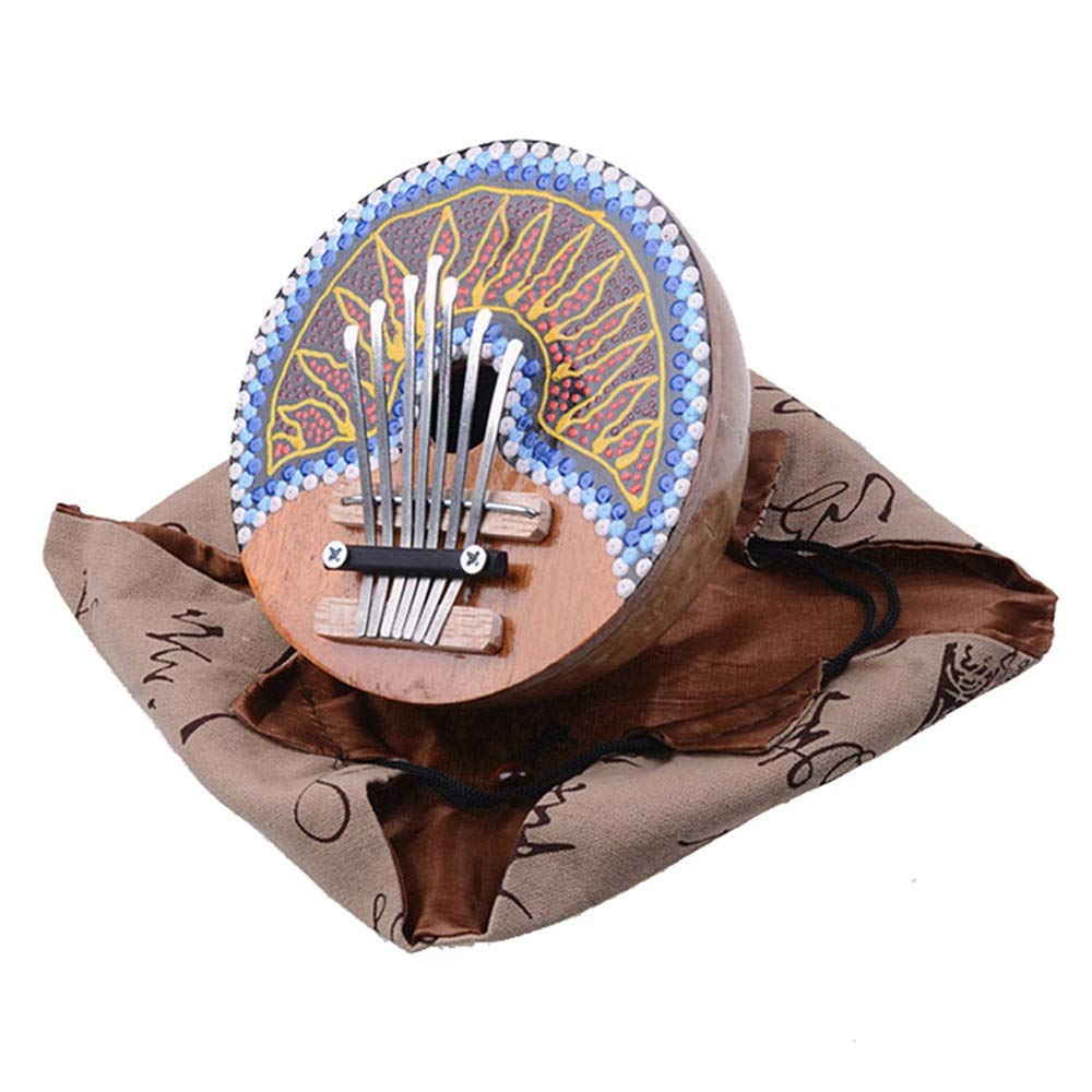 Professional Finger Thumb Piano 7 Keys Hand Painted Coconut Shell Kalimba Handcrafted African Mbira Sanza Thumb Piano Finger Piano Metal Tines Kids Musical Instrument Gifts for Beginners Professionals