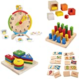 Amazon Basics Kids Interactive 5-Game Math Set, Geometric Peg Board and Sorting Board, Fraction Cubes, Numbers 1-10, Activity