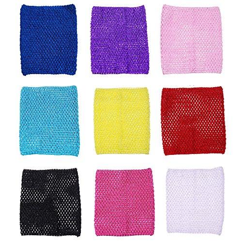 9inch Crochet Tutu Tops Unlined Tube Top Crochet headbands For 12-36 Months Kids 9pcs (9pcs solid color)